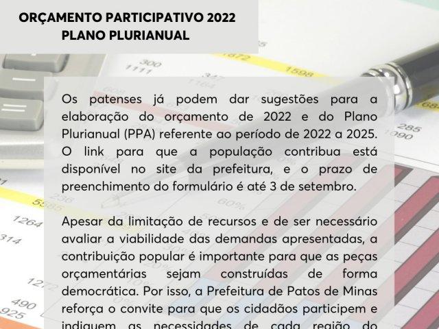 Orçamento Participativo 2022: sugestões já podem ser apresentadas
