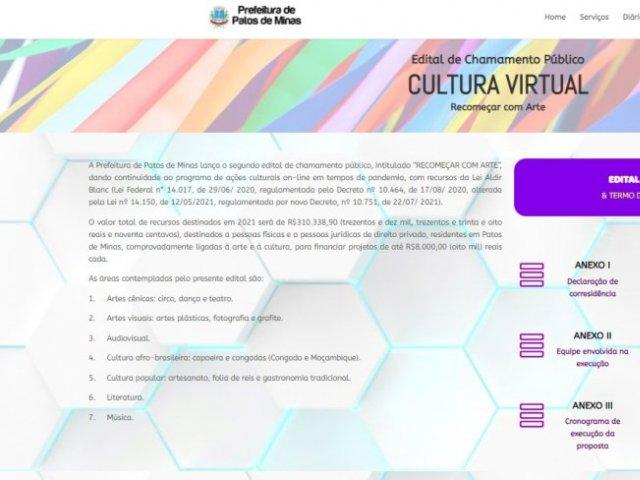 Cultura: aberto edital para seleção de projetos artísticos e culturais