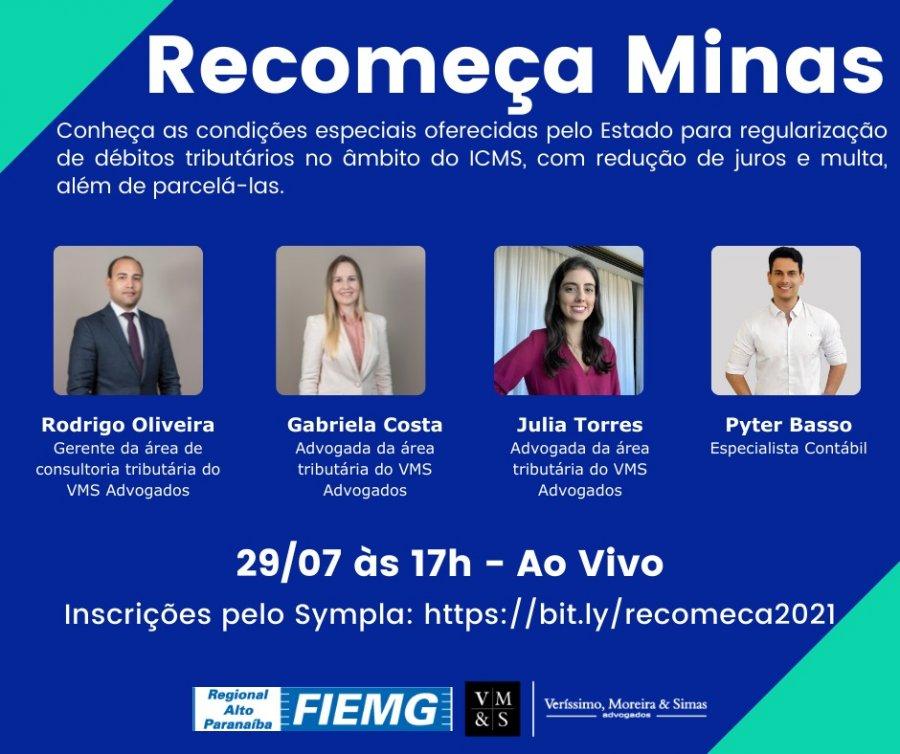 FIEMG Regional Alto Paranaíba e VMS Advogados promovem evento sobre Recomeça Minas