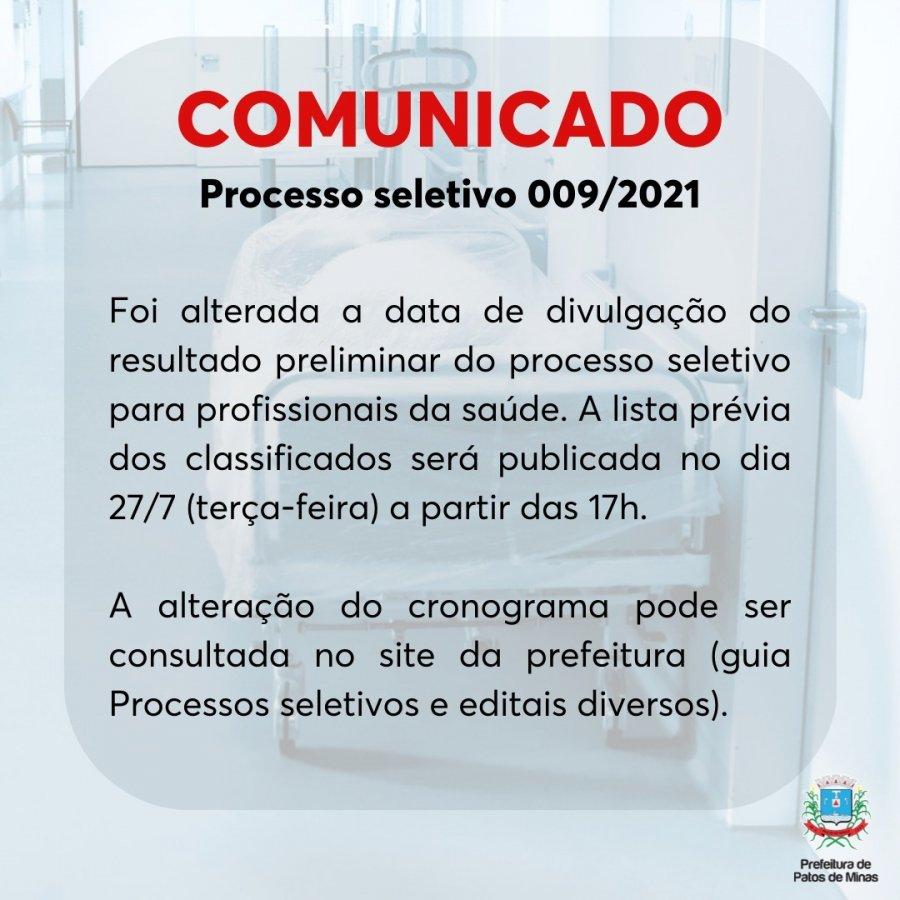Prefeitura publica retificação do edital 009/2021