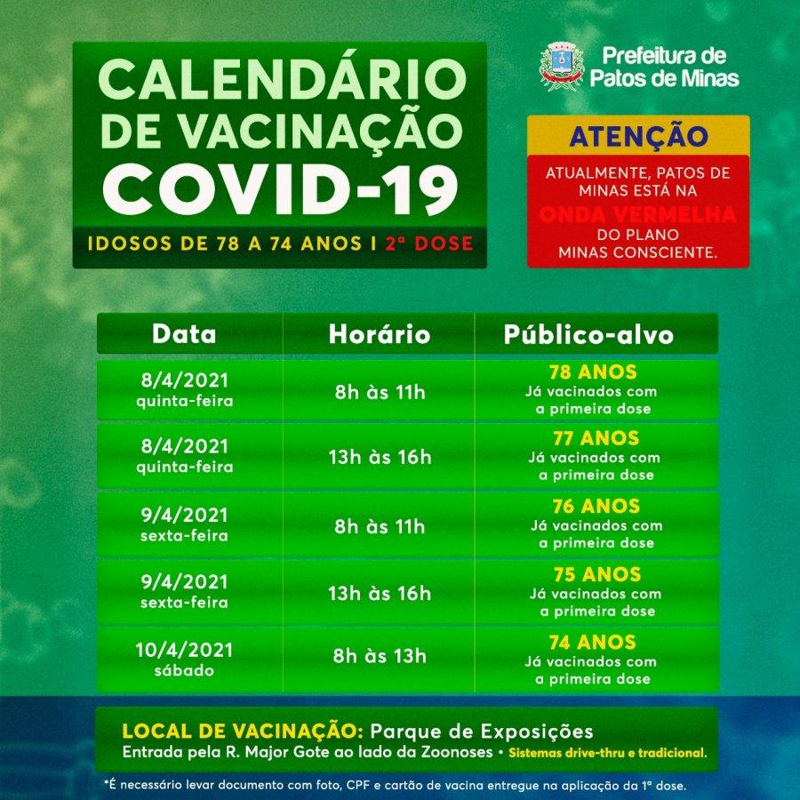 Covid-19: Confira o calendário de vacinação de quinta-feira a sábado