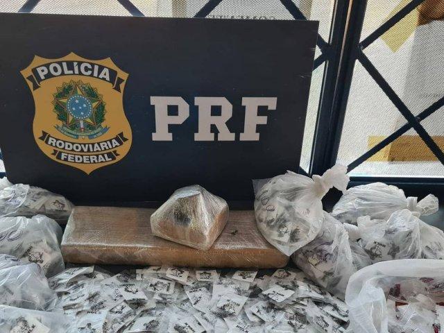 PRF apreende cocaína e maconha em ônibus de turismo