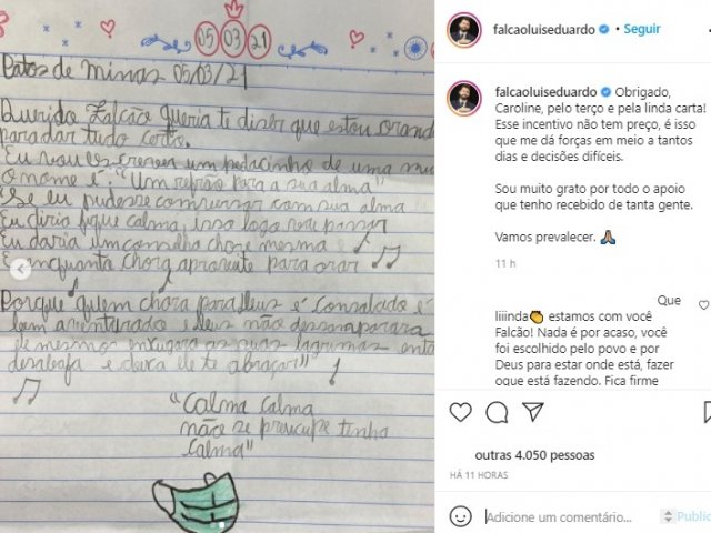 Menina de 9 anos envia carta incentivando o prefeito Falcão