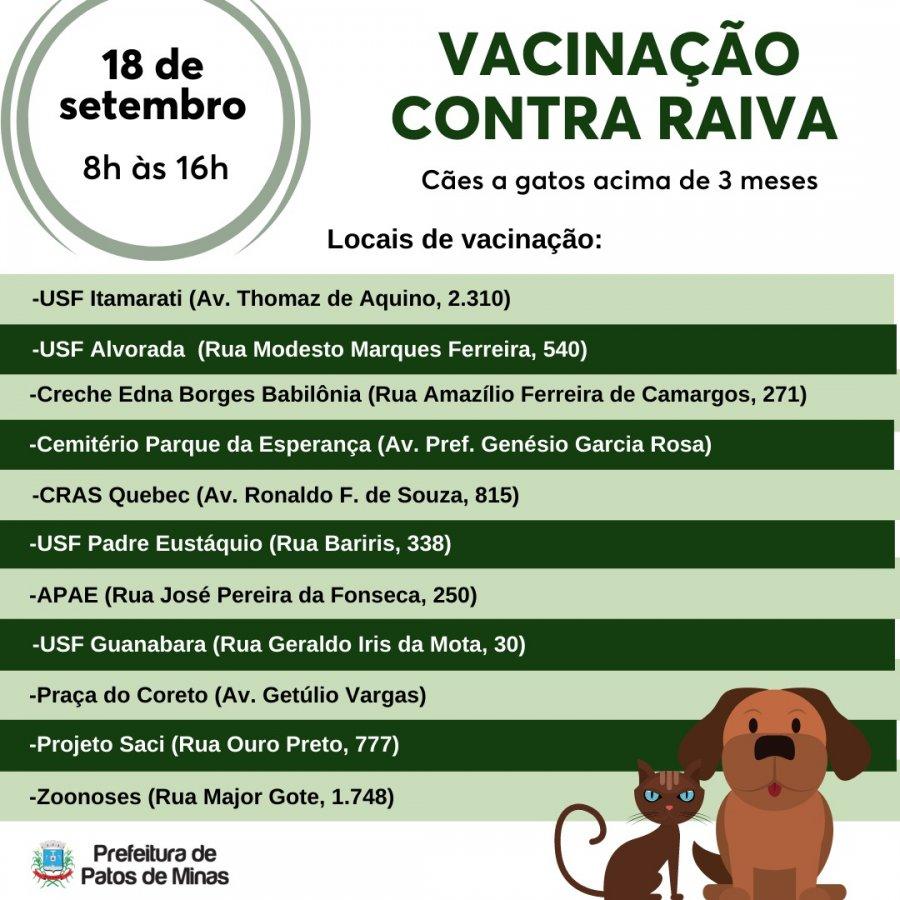Vacinação antirrábica no meio urbano começa no próximo sábado
