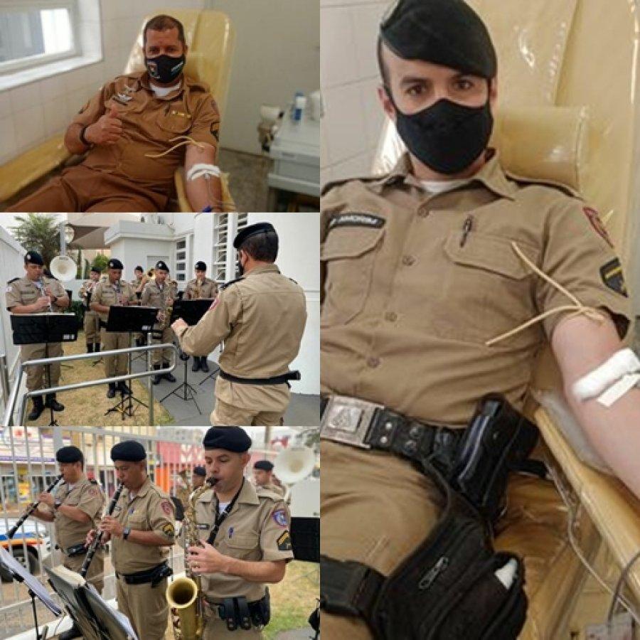 Militares da Banda de Música doam sangue e realizam apresentação musical no Hemominas