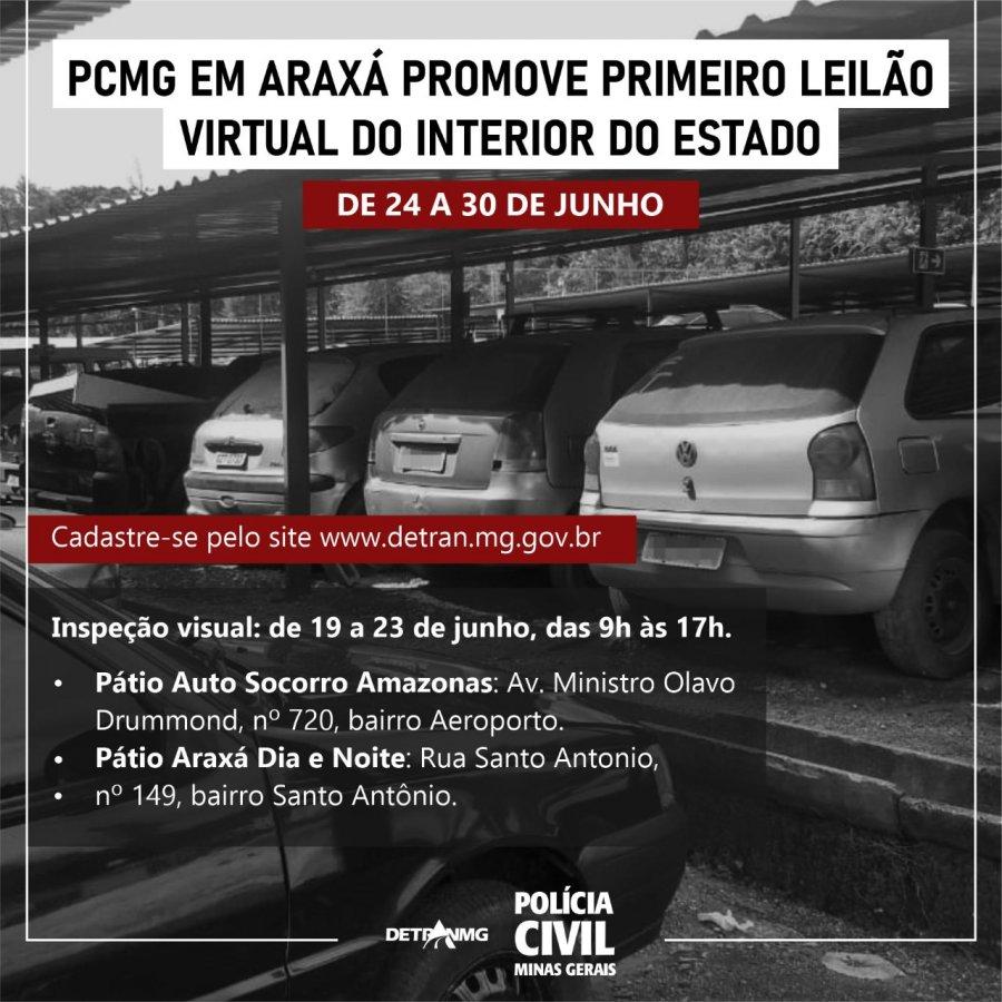 PC em Araxá promove primeiro leilão virtual do interior do estado