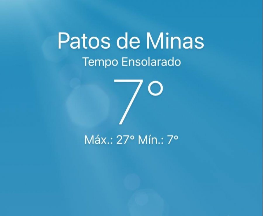 Em Patos de Minas, a terça-feira começa com frio e temperaturas abaixo dos 7ºC