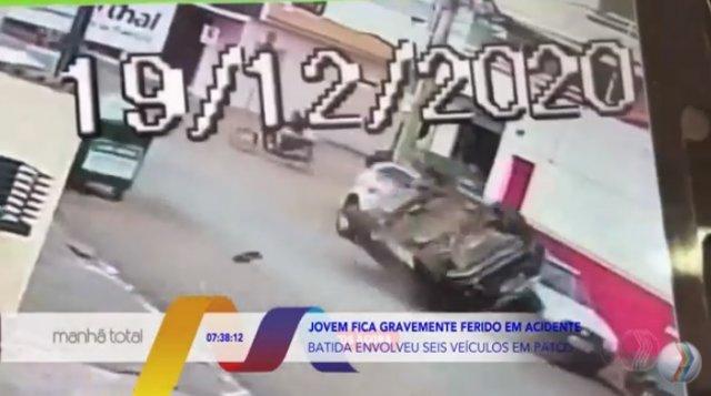 Jovem fica gravemente ferido em acidente na cidade de Patos de Minas