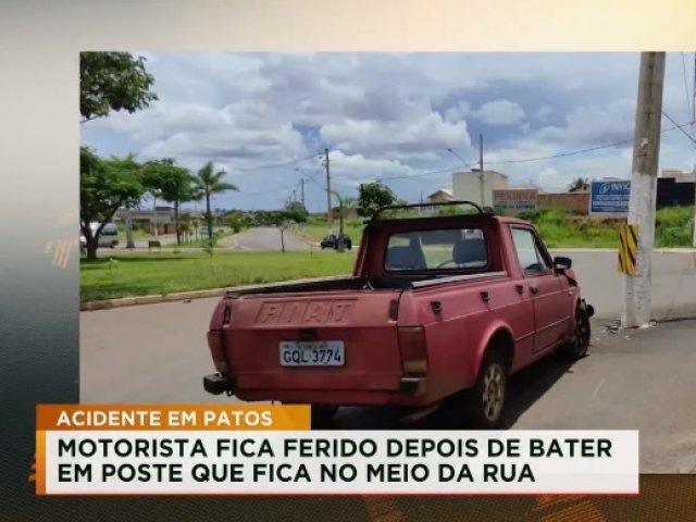 Motorista fica ferido depois de bater em poste na cidade de Patos de Minas