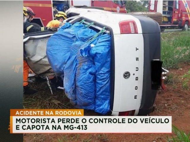 Motorista perde o controle do veículo e capota na MG-413