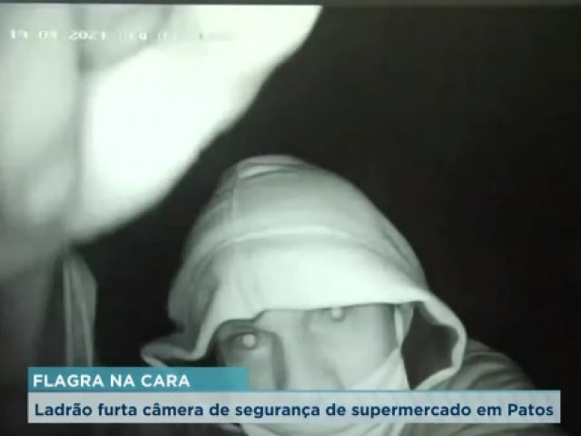 Ladrão furta câmera de segurança de supermercado em Patos de Minas