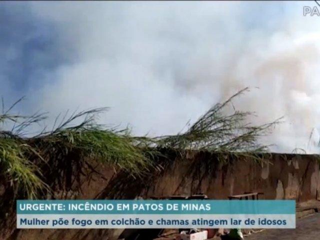 Mulher põe fogo em colchão e chamas atingem lar de idosos