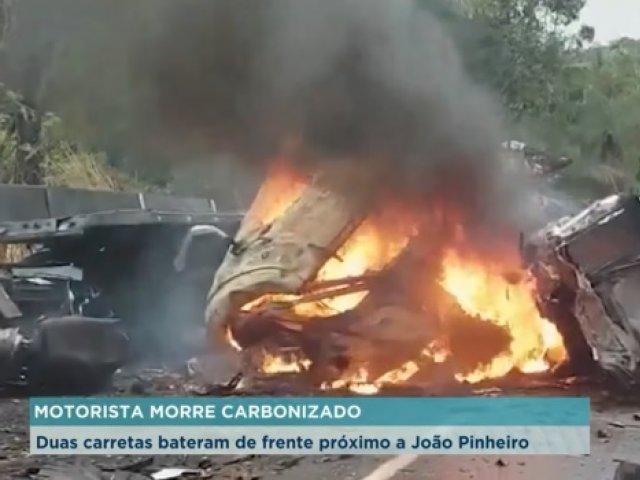 Motorista morre carbonizado após grave acidente na BR-040, próximo a João Pinheiro